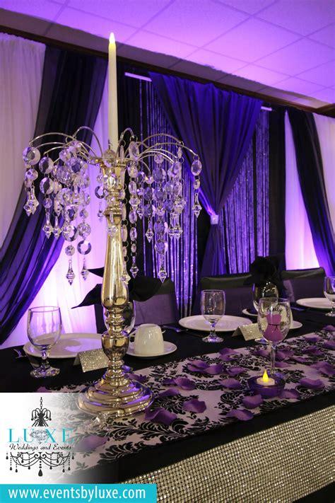 pin  purple black  white damask wedding decor