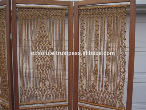 Wooden Carving Folding Panel Room Divider With Macrame