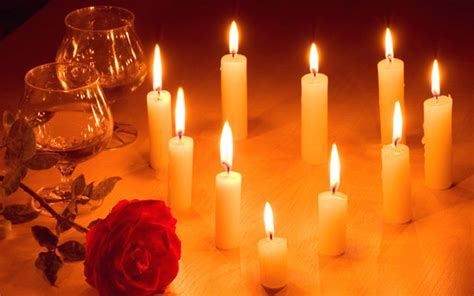 romantic candle light red rose flower hd wallpaper