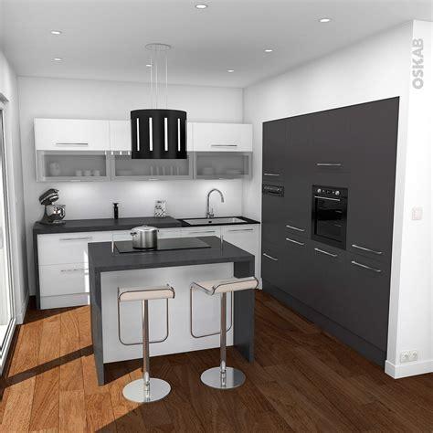 cuisine oskab cuisine design avec ilot central blanche et grise oskab