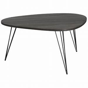 Table Basse Forme Galet Rtro Bois Et Pieds Mtal Noir En