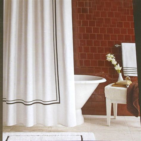 brown and white shower curtain fieldcrest luxury brown border white pique fabric shower