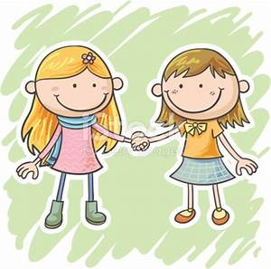 Two Little Girls Are Holding Hands Stock Vector Art & More ...
