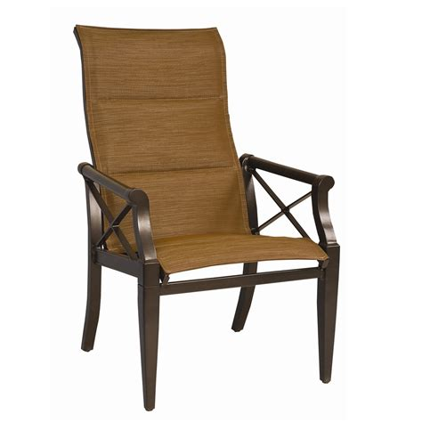 high back lawn chairs woodard andover padded sling high back dining arm chair 4205