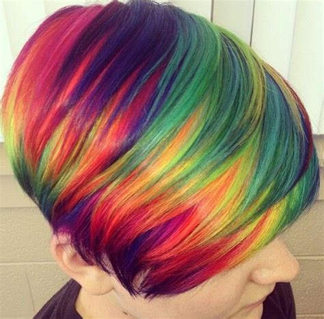 Short Rainbow Hair Rainbow Hair And Rainbows On Pinterest