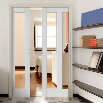 dominica shaker white double pocket doors clear glass