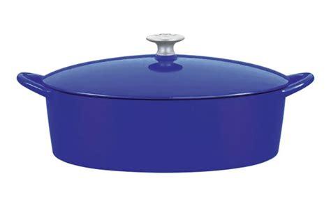 mario batali enameled cast iron oval dutch oven  quart cobalt cutlery