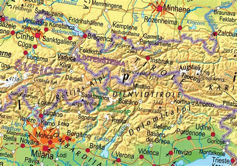 Eiropas fizioģeogrāfiskā sienas karte