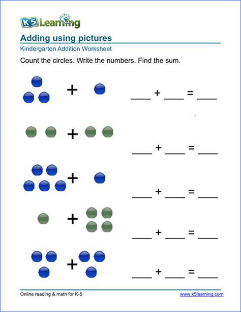 preschool kindergarten addition worksheets