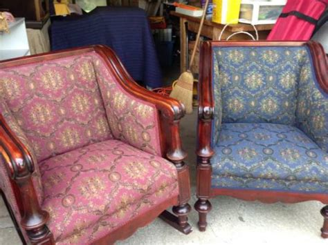 upholstered rocker rocking chair w mahogany trim for sale