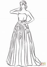 Coloring Pages Prom Printable Drawing Strapless Games sketch template