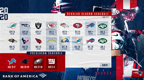New England Patriots 2020 Schedule Announced