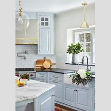 Light Blue Kitchen Cabinets With Farmhouse Sink