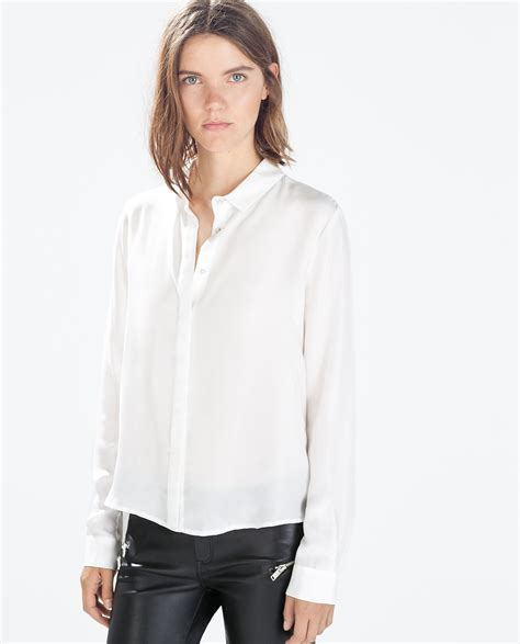 zara blouse zara silk blousen with shirt collar in white lyst