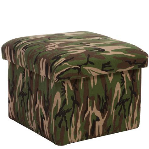 Camo Ottoman by Noble House Sidney Camouflage Fabric Storage Ottoman