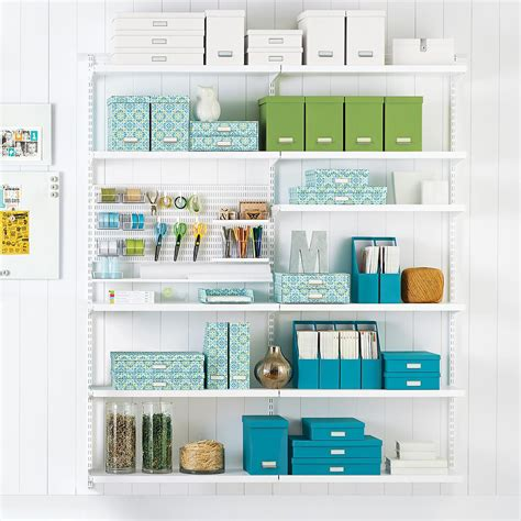 White Elfa Craft Room Shelving  The Container Store