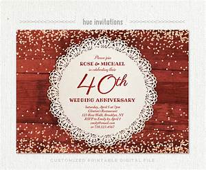 40th wedding anniversary invitation ruby anniversary party With 40th wedding anniversary invitations