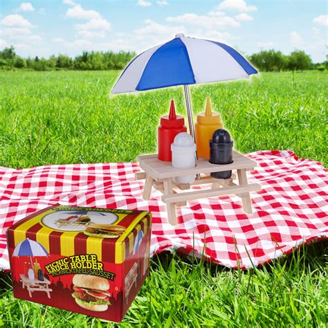 novelty wooden picnic table  umbrella condiment set