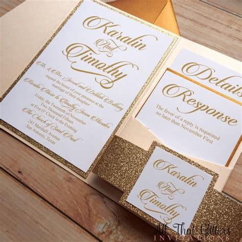 diy rose gold glitter wedding invitations gold 2570387