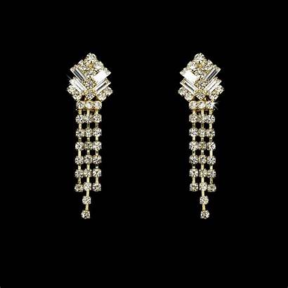 Earrings Gold Clip Crystal Dangle Clear Bridal
