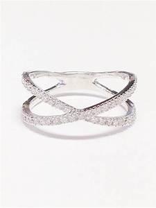 050CT Diamond Band Criss Cross X Ring Anniversary Bands