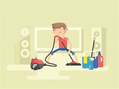 Cleaning Animation Dribbble Clean Guy Illustration Equipment