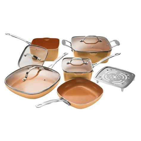 gotham steel  piece copper  stick ti ceramic square cookware set  lids   home
