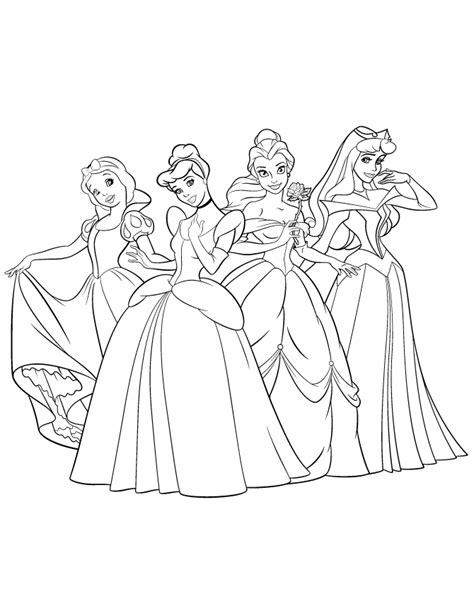 Coloring Pages Disney Princesses by Beautiful Disney Princesses Coloring Page H M Coloring