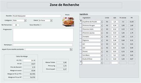 logiciel fiche technique cuisine toutes versions application pour la gestion d un restaurant