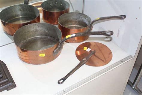 antique french copper pots  mauviel villedieu   copper metalware