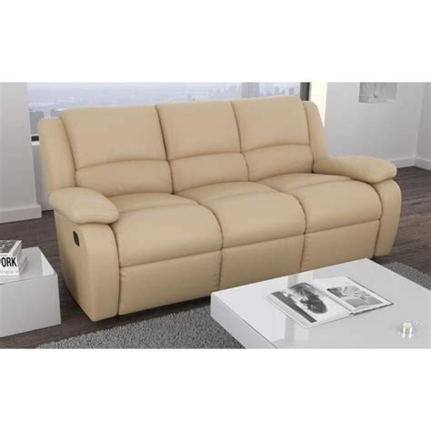 relax canap 233 relaxation cuir et simili 3 places 192x92x93 cm beige achat vente canap 233