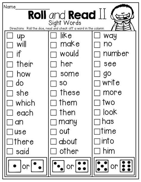 Roll and READ a sight word!   Kindergarten Activities