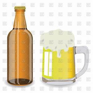 Beer mug with froth and brown bottle Royalty Free Vector ...