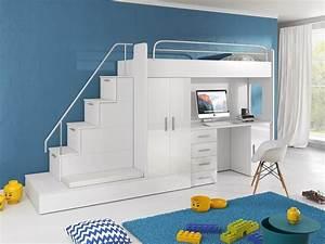Kinderhochbett Mit Schreibtisch : hochbett tomi mit schreibtisch schrank und regal m bel f r dich online shop ~ Indierocktalk.com Haus und Dekorationen