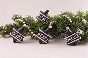 Weihnachtskugeln Aus Lauscha : 4 sterne schwarz silber christbaumkugeln ~ Orissabook.com Haus und Dekorationen