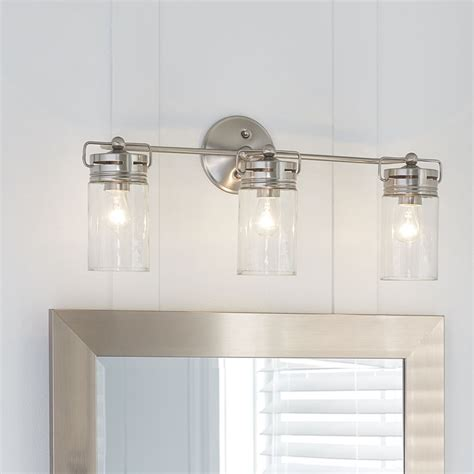 bathroom lighting fixtures allen roth 3 light vallymede brushed nickel bathroom