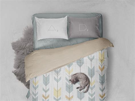 bed linen mockup  psd template
