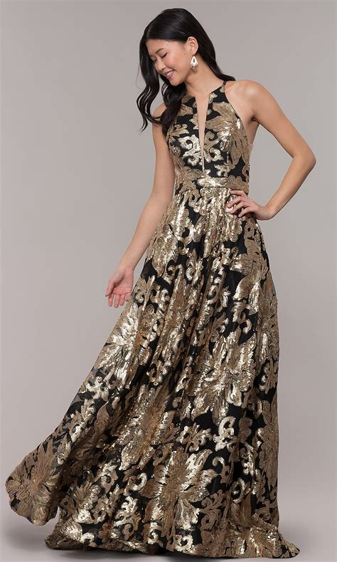 Long Gold-Sequin High-Neck Black Prom Dress - PromGirl