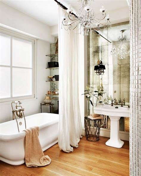 bathroom antiqued mirror tile wall happiness is in the
