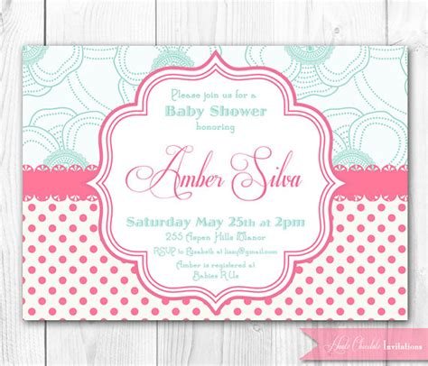 shabby chic baby shower invites items similar to pink aqua shabby chic baby shower invitation diy printable baby shower or