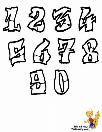 Graffiti Numbers Letters Coloring Pages Alphabet Chart