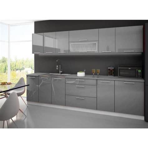 meuble cuisine sous evier cuisine laquee high gris blanc 3m avec plan de travail