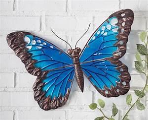 New quot wall art butterfly blue glass and metal garden