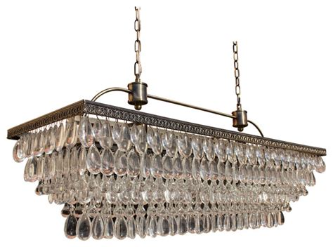 Weston Rectangular Glass Drop Chandelier, Antique Brass Finish, 40