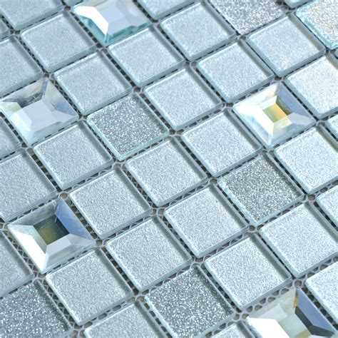 mirror glass tile wholesale grey crystal glass mosaic tiles washroom backsplash plated design bathroom wall floor