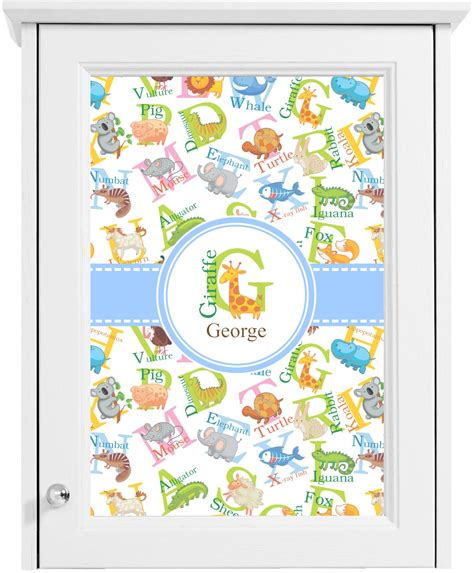 animal alphabet cabinet decal small personalized