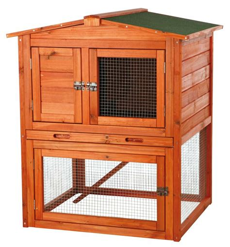 Rabbitt Hutch - trixie wooden rabbit hutch gabled roof small animal cage