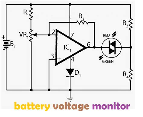 Battery Voltage Monitor Electronic Circuit
