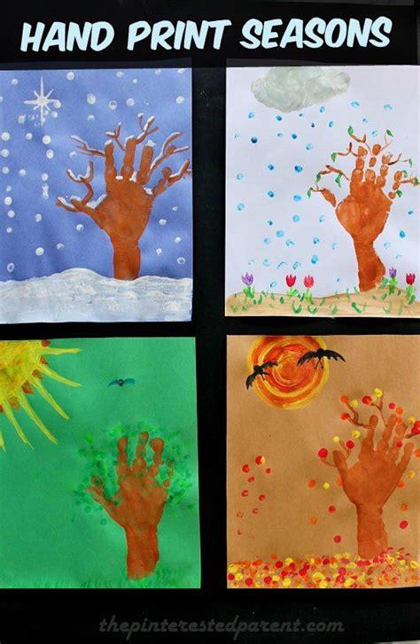 seasons hand prints seasons activities preschool