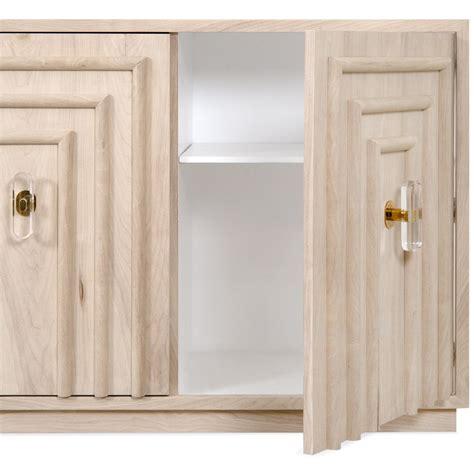 credenza deco deco 4 door credenza in bleached walnut modshop